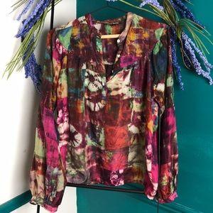 LUCKY BRAND 100% silk 'Olivia Ikat blouse' Small
